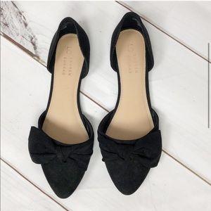LAUREN CONRAD black faux suede flats w bow sz 9.5